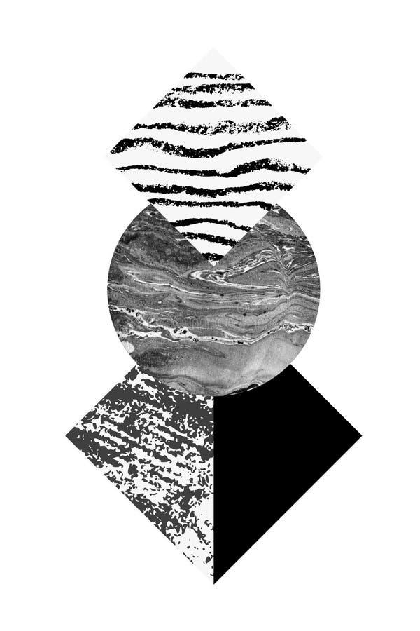 Абстрактная геометрия формирует с акварелью и текстурами grunge иллюстрация вектора