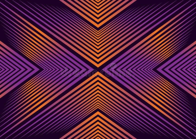 Абстрактная гипнотизируя линия искусство с оранжевым и голубым градиентом иллюстрация штока