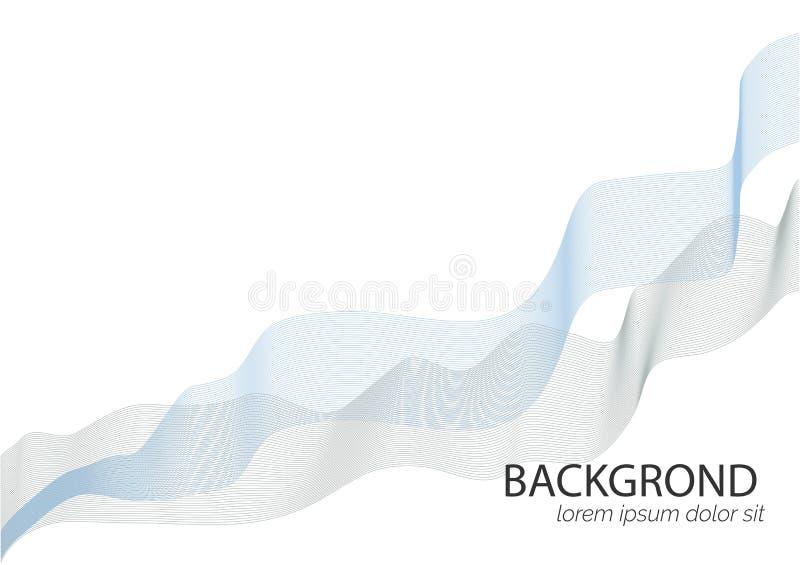 Абстрактная голубая и белая предпосылка вектора волны для брошюры, вебсайта, дизайна летчика голубая волна дыма Белая предпосылка иллюстрация вектора