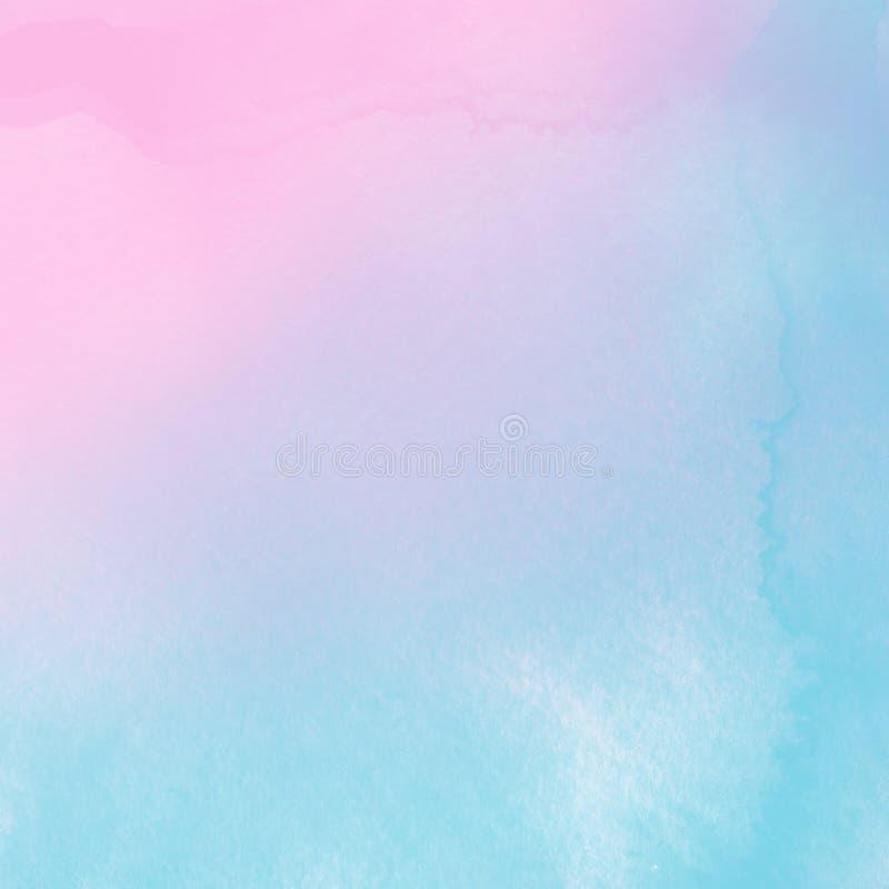 Абстрактная голубая и розовая пастельная предпосылка акварели Фон, краска иллюстрация штока