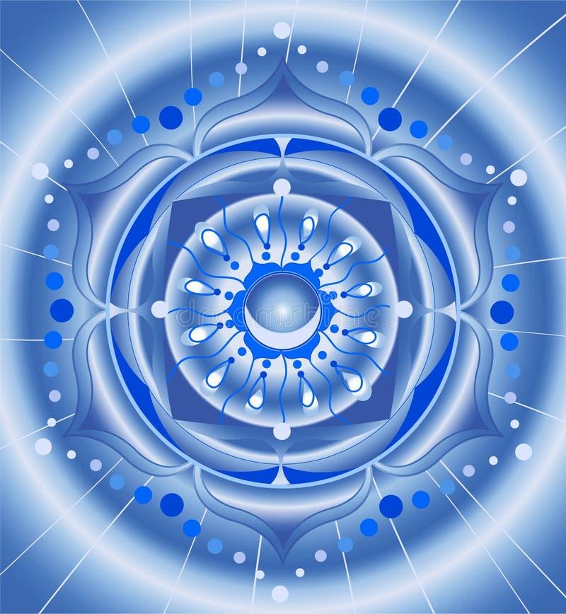 абстрактная голубая картина мандала иллюстрация вектора