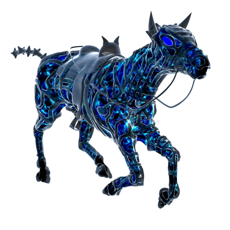 абстрактная голубая лошадь gallop иллюстрация штока