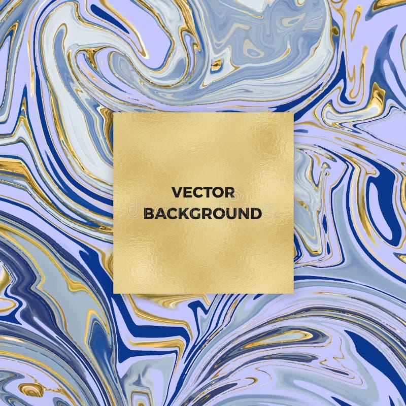 Абстрактная голубая мраморная акварель с карточкой текстуры сусального золота, с местом ваш текст Шаблон для ваших дизайнов, знам иллюстрация штока