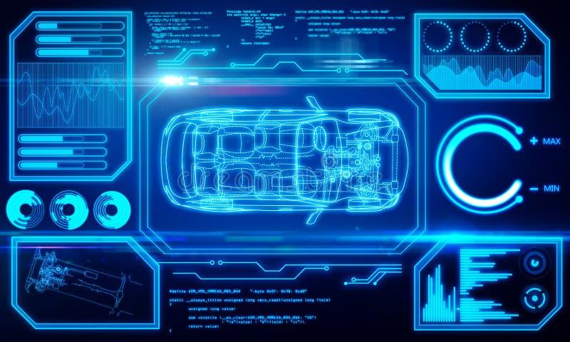 Абстрактная голубая предпосылка интерфейса автомобиля иллюстрация вектора