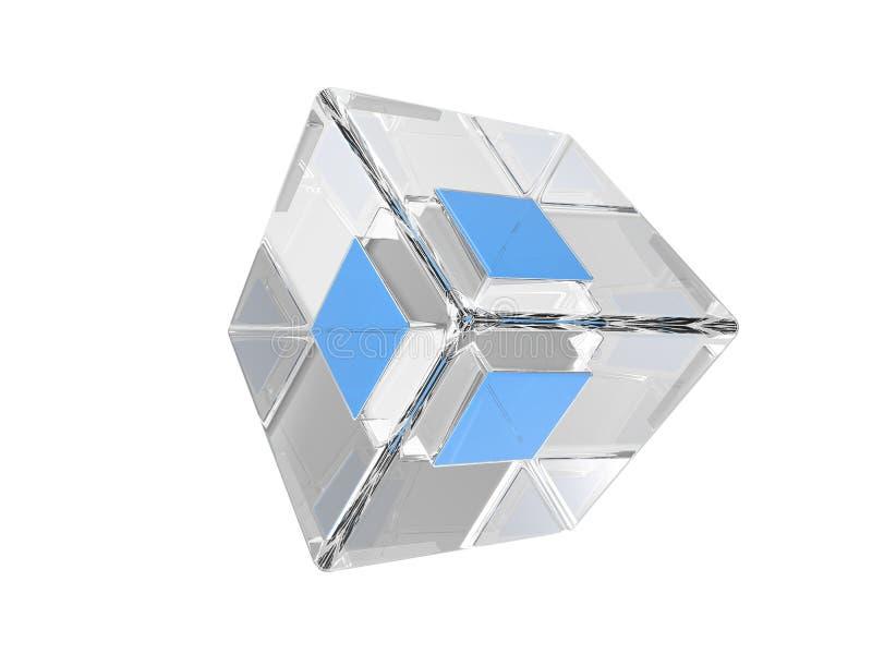 Абстрактная голубая форма стекла куба бесплатная иллюстрация