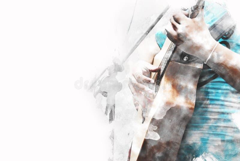 Абстрактная голубая форма цвета на предпосылке акварели акустической гитары на переднем плане крася бесплатная иллюстрация