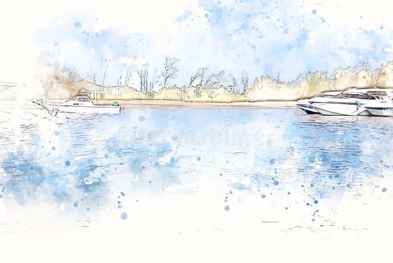 Абстрактная голубая форма цвета на шлюпке скорости в океане на картине иллюстрации акварели стоковая фотография