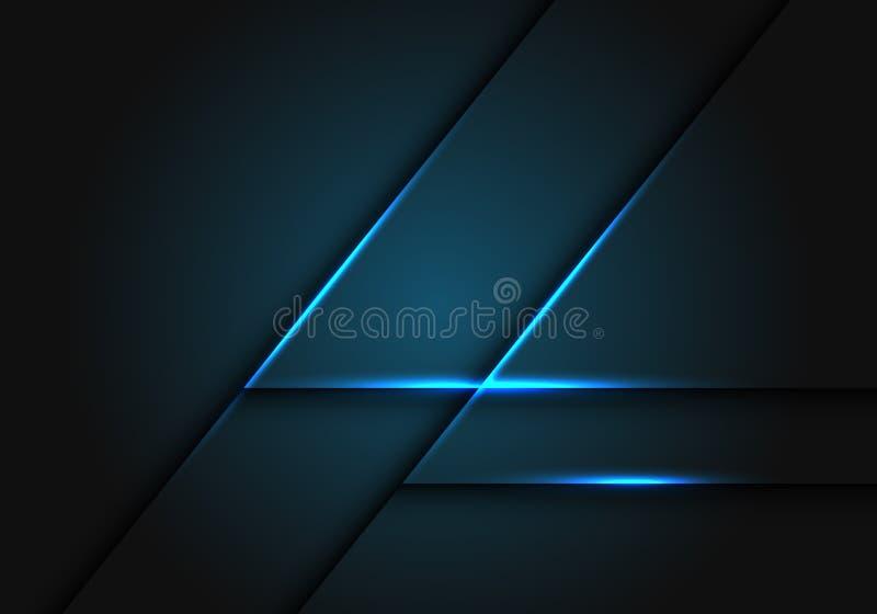 Абстрактная голубая цепь световых маяков на темном сером векторе предпосылки геометрического дизайна современном футуристическом бесплатная иллюстрация