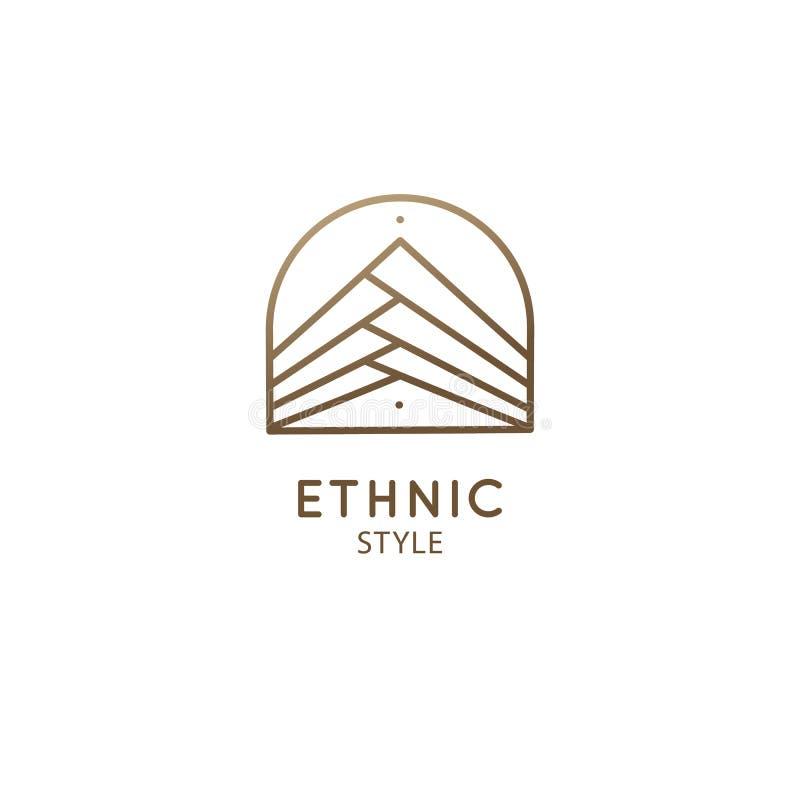 Абстрактная гора логотипа в линейном стиле иллюстрация штока