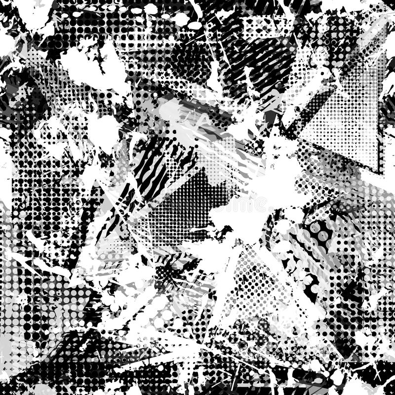 Абстрактная городская безшовная картина Предпосылка текстуры Grunge Scuffed падение распыляет, треугольники, точки, черно-белый б иллюстрация вектора