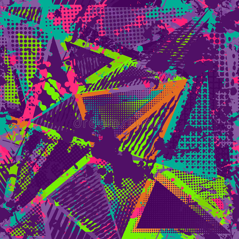 Абстрактная городская безшовная картина Предпосылка текстуры Grunge Scuffed брызги падения, треугольники, точки, неоновая краска  бесплатная иллюстрация