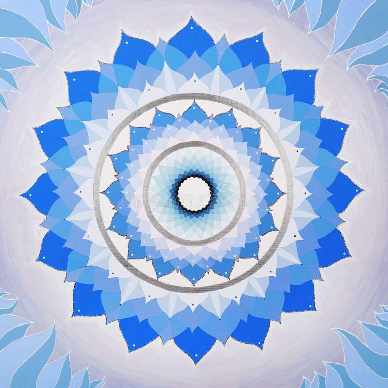 Абстрактная голубая мандала chakra Vishuddha иллюстрация вектора