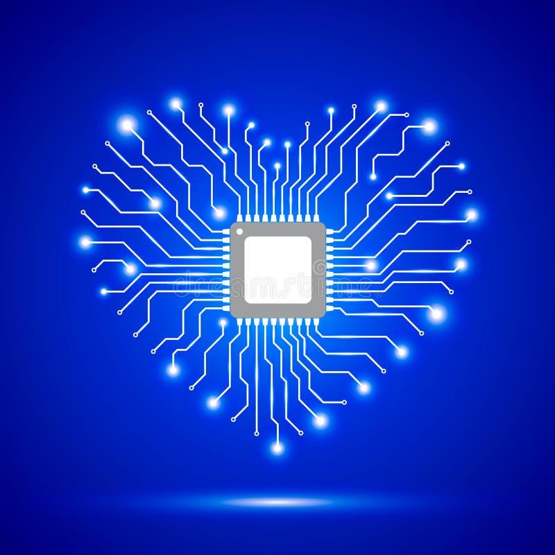 Абстрактная голубая предпосылка с сияющим сердцем также вектор иллюстрации притяжки corel иллюстрация вектора