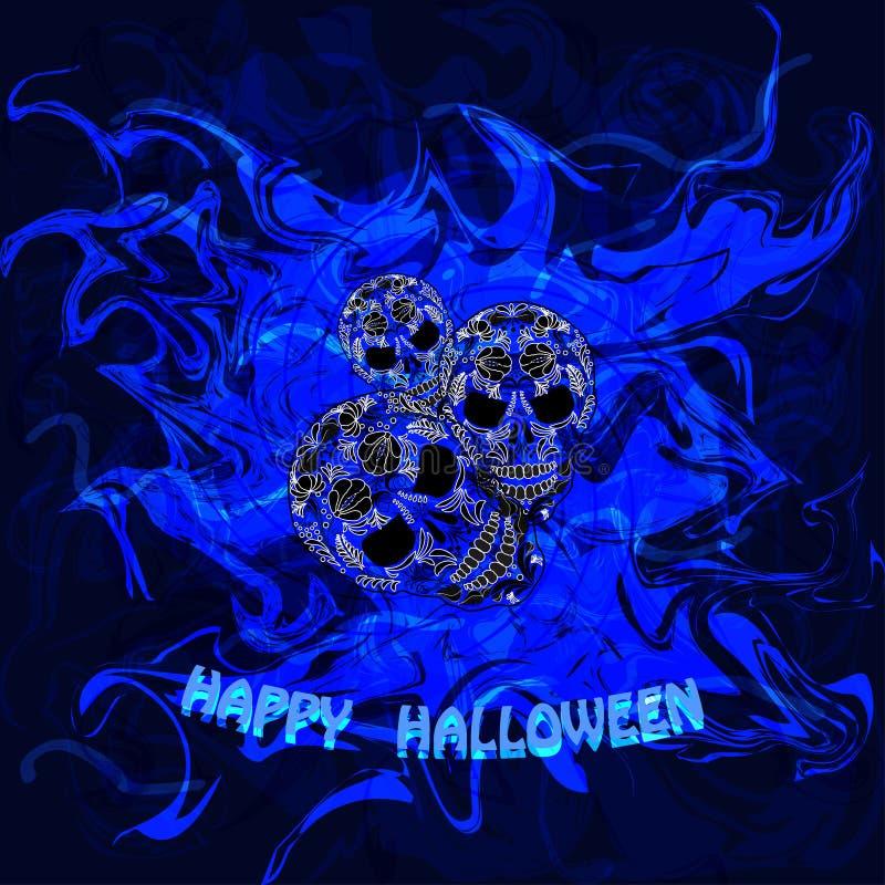 Абстрактная голубая предпосылка с черепами и словами счастливым хеллоуином иллюстрация штока