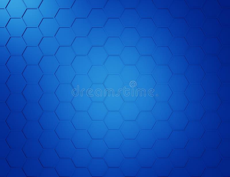 Абстрактная голубая предпосылка с шестиугольниками и проводами иллюстрация вектора