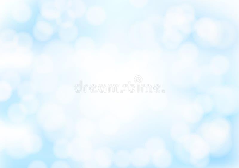 Абстрактная голубая предпосылка bokeh с запачканными световыми эффектами иллюстрация вектора