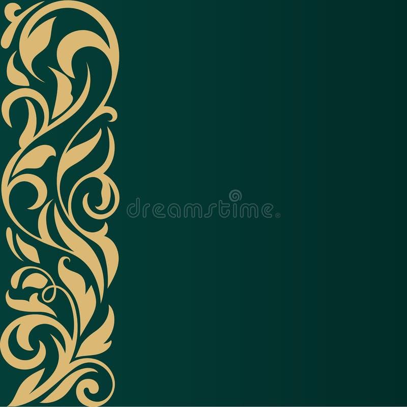 абстрактная граница Винтажный дизайн на зеленой предпосылке иллюстрация штока