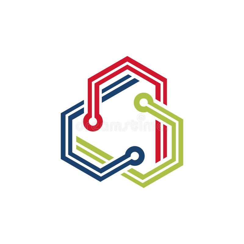 Абстрактная группа в составе шестиугольника треугольника символ дела технологии бесплатная иллюстрация