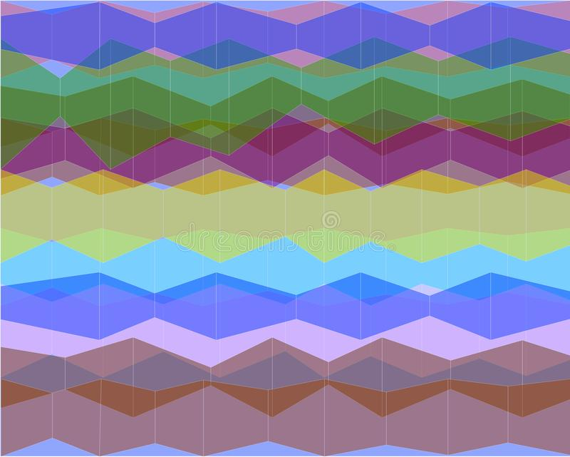 Абстрактная группа прозрачных покрашенных форм В общей картине, белые вертикальные линии сформированы бесплатная иллюстрация