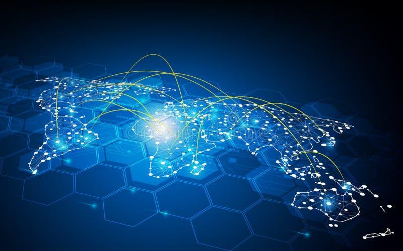Абстрактная глобальная концепция соединения сети перехода связи дизайна движения иллюстрация штока