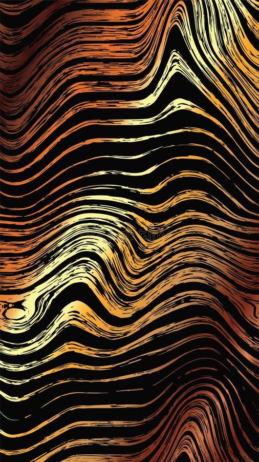 Абстрактная деревянная картина золота текстурирует предпосылку Безшовная роскошная деревянная текстура, график руки доски вычерче иллюстрация вектора