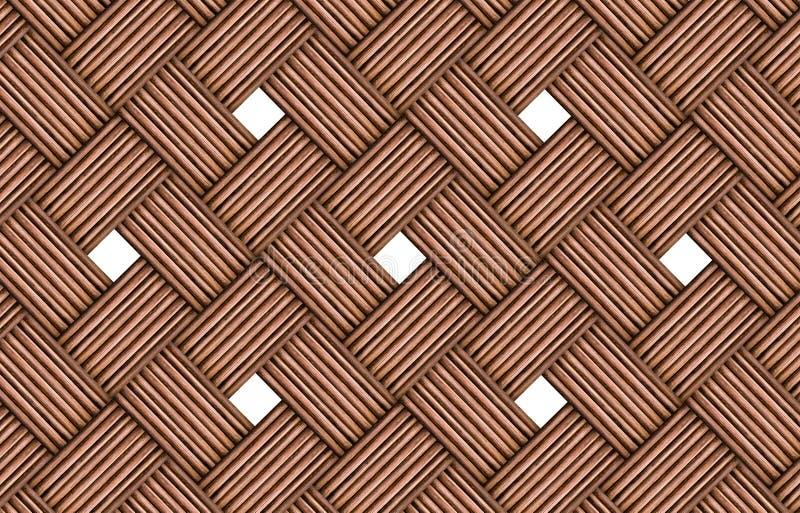 Абстрактная деревянная плетеная картина, блоки огораживает журналы, твердое тело холста текстуры с окнами белых квадратов иллюстрация штока