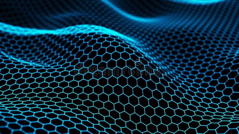 Абстрактная динамическая волна соединенных линий на темной предпосылке Предпосылка цифровой технологии r r бесплатная иллюстрация