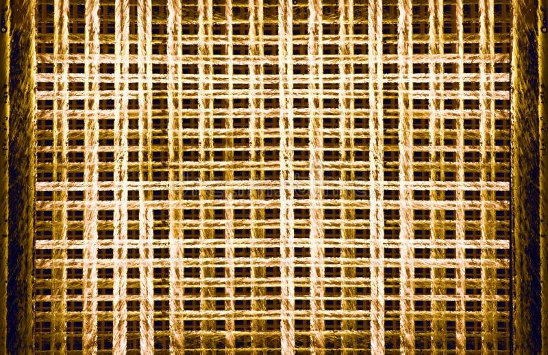 Абстрактная декоративная предпосылка горизонтальная, решетка текстуры решетки затейливо высекла окна, пересекая выравнивает желто бесплатная иллюстрация