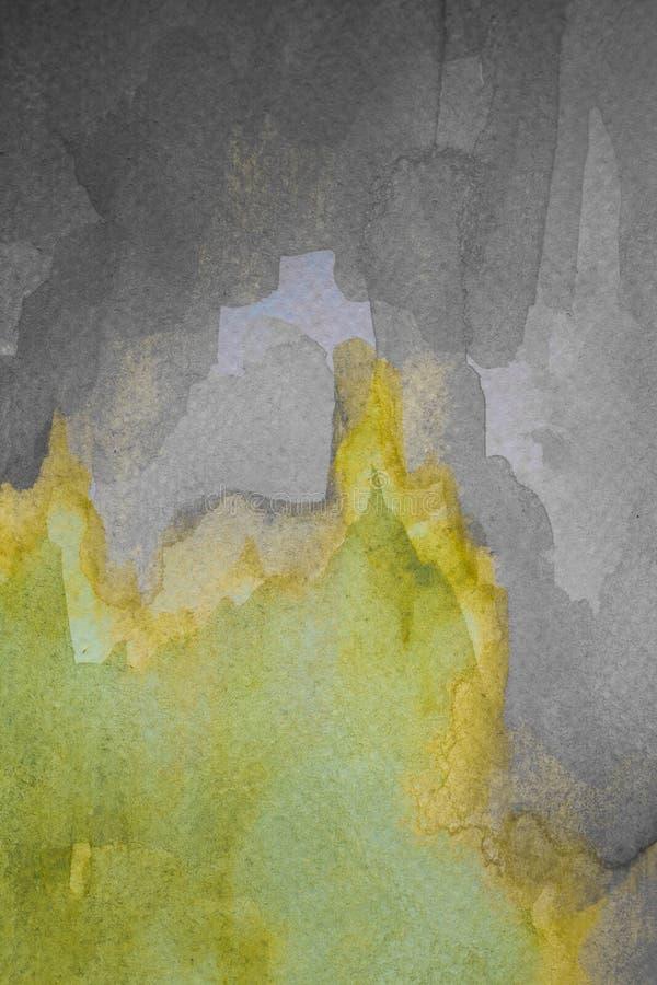 Абстрактная желтая акварель на текстурированной бумаге Желтой и серой покрашенная рукой предпосылка акварели иллюстрация вектора