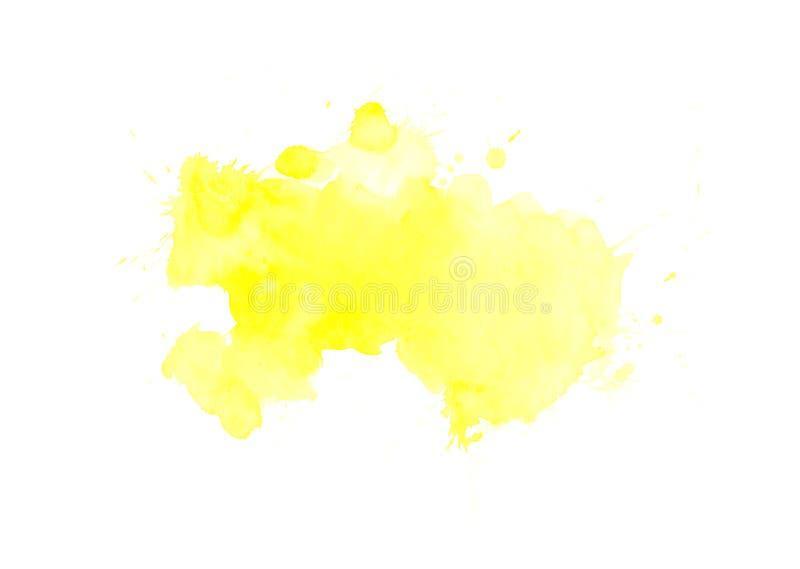 Абстрактная желтая предпосылка выплеска акварели искусство покрашенным изображением стоковые изображения