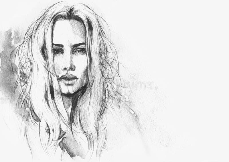 абстрактная женщина портрета экран имитации способа компьютера предпосылки бесплатная иллюстрация