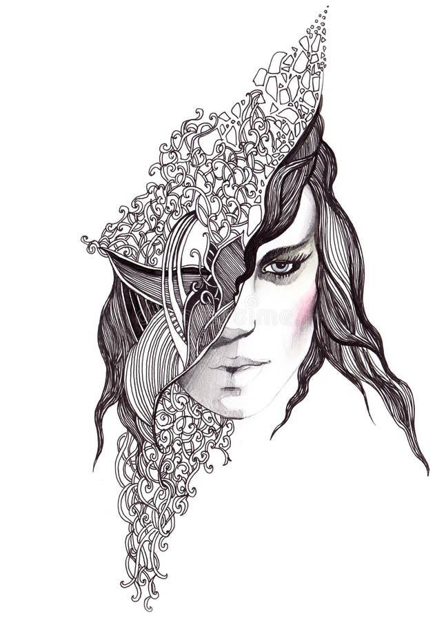 абстрактная женщина стороны иллюстрация штока