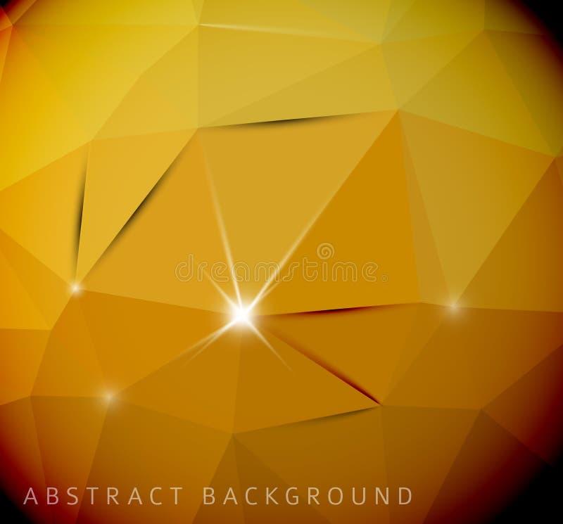 Абстрактная желтая предпосылка сделанная от треугольников иллюстрация вектора