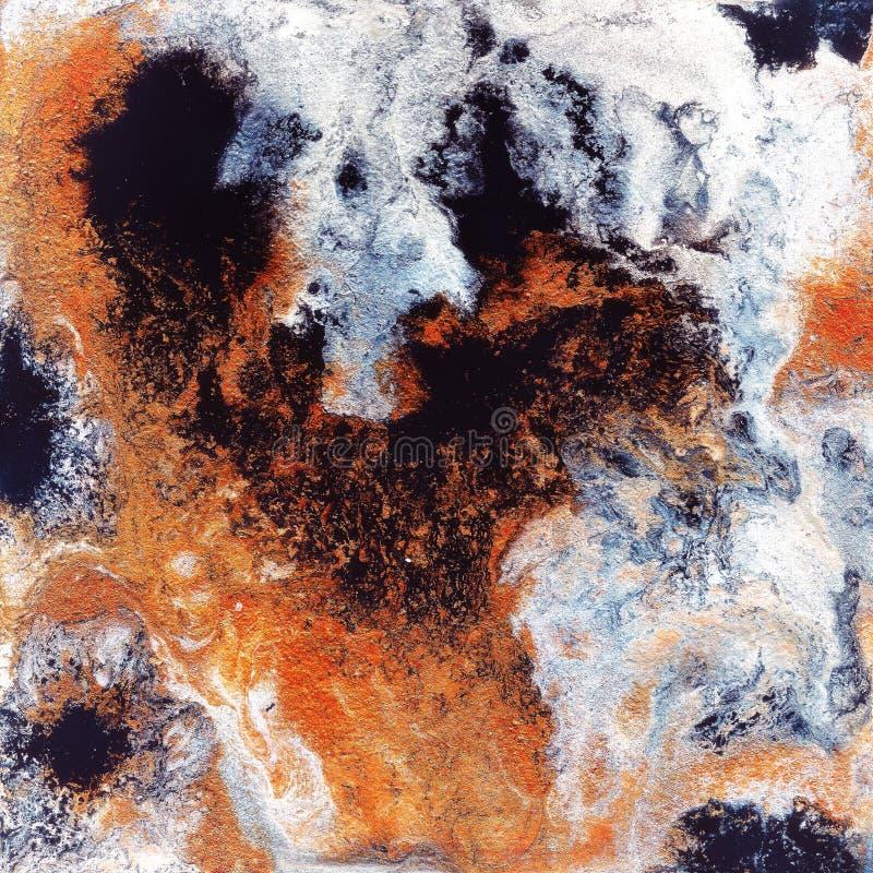 Абстрактная жидкостная предпосылка золота Картина с абстрактными золотыми и черными волнами мрамор Handmade поверхность Жидкостна стоковые фотографии rf