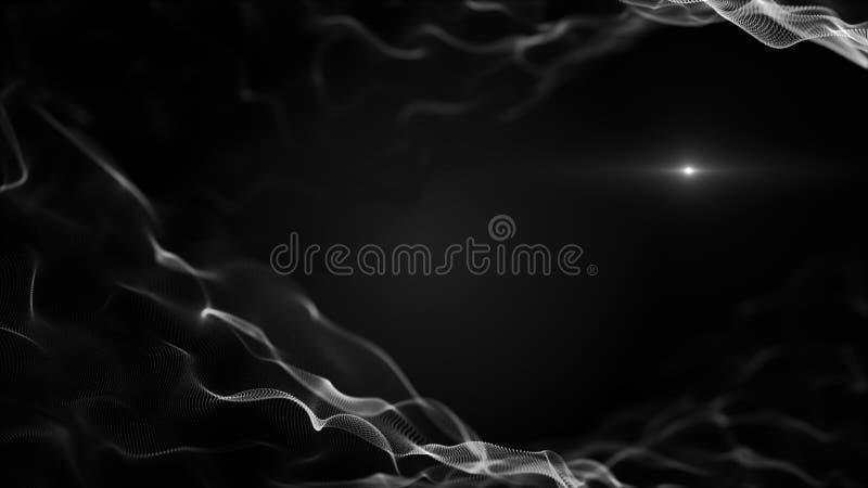 Абстрактная жидкость, предпосылка liquit Кристаллические белые формы на черном фоне Blick запачканное светом белое внутри волн иллюстрация штока