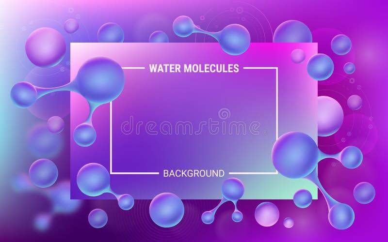 абстрактная запачканная синь предпосылки Молекулы воды в движении Живые градиенты и геометрические формы Светящие атомы иллюстрация вектора