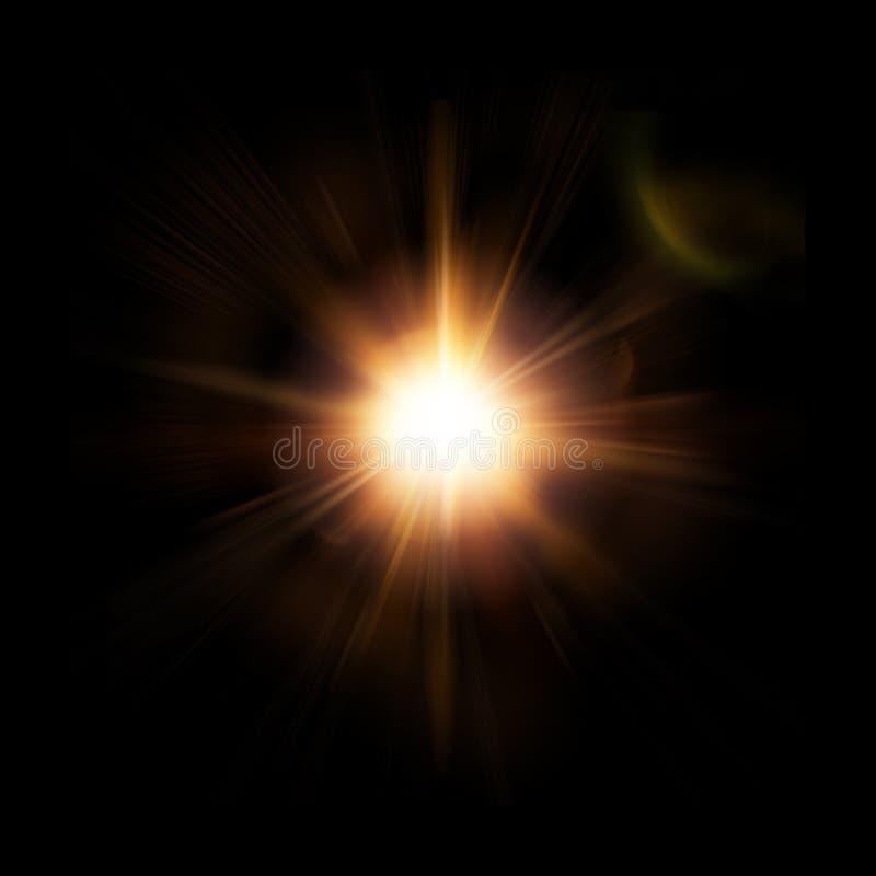 Абстрактная звезда, Солнце с пирофакелом объектива на темной предпосылке Оранжевый красный цвет излучает светить и сверкнать Квад иллюстрация штока