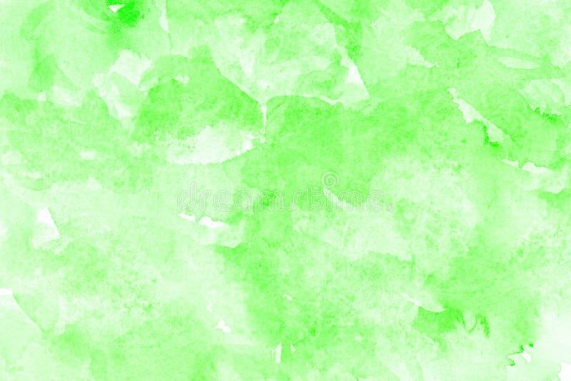 Абстрактная зеленая акварель на белой предпосылке Цвет брызгая в бумаге Нарисованная рука стоковые фотографии rf