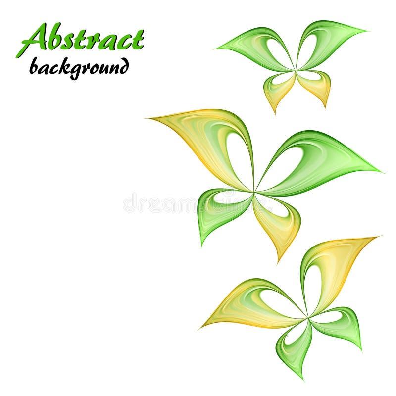 Абстрактная зеленая и желтая бабочка иллюстрация вектора