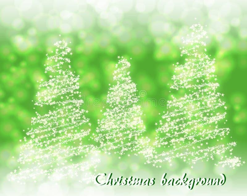 Абстрактная зеленая предпосылка с абстрактной рождественской елкой стоковые изображения