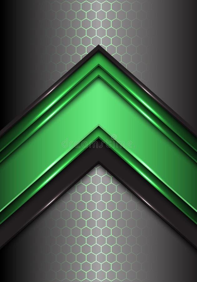 Абстрактная зеленая черная линия стрелка на векторе предпосылки дизайна света сетки шестиугольника современном футуристическом бесплатная иллюстрация