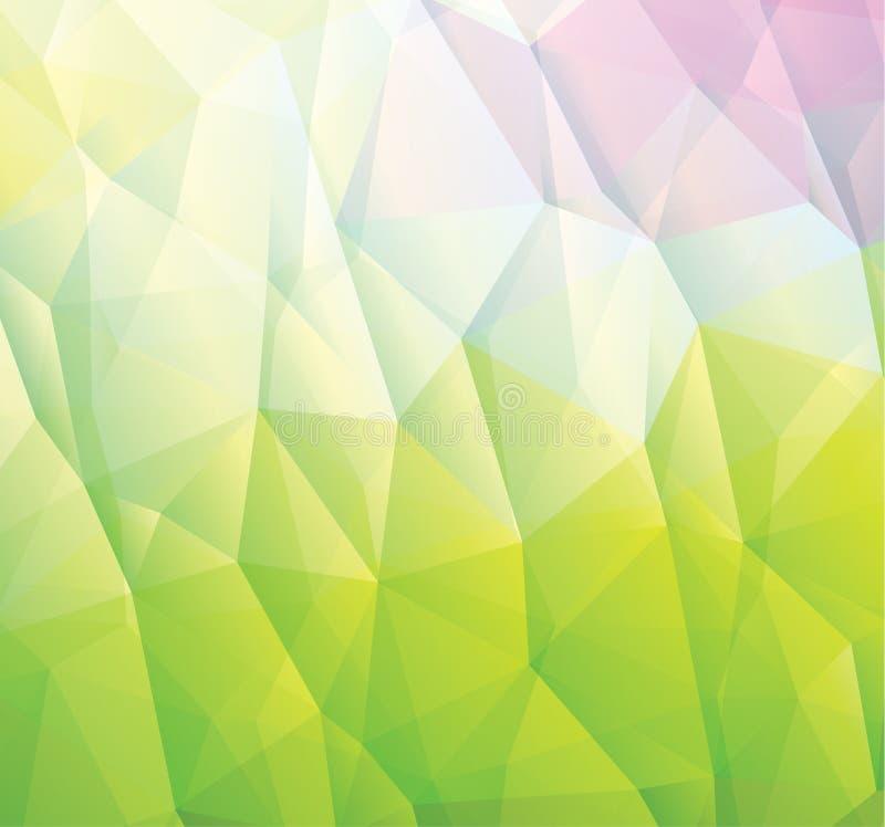Абстрактная зеленая предпосылка сделанная от треугольников иллюстрация вектора