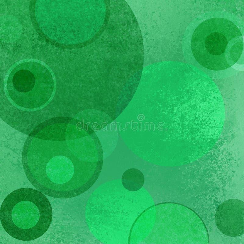 Абстрактная зеленая предпосылка с плавая кругом и кольцом наслаивает с текстурой grunge иллюстрация вектора