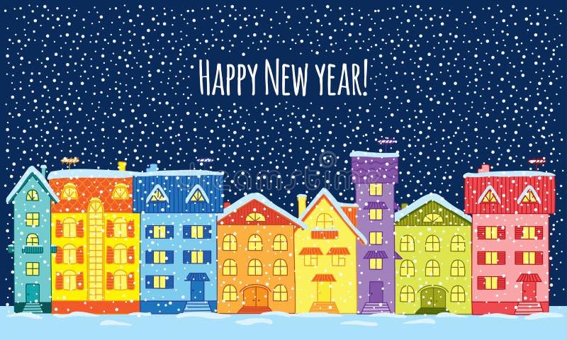 абстрактная зима ночи изображения фрактали счастливое Новый Год иллюстрация штока