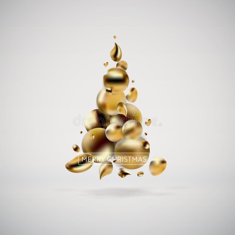 Абстрактная золотистая рождественская елка Жидкостная жидкая предпосылка современных графических элементов Шаблон для карточки, п иллюстрация вектора