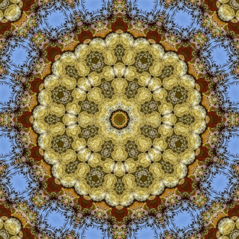 Абстрактная зона отражений цветков в круговом расположении на свадьбе в Калифорния иллюстрация вектора