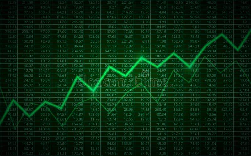 Абстрактная диаграмма дела с линией диаграммой тенденции к повышению и складскими номерами на предпосылке зеленого цвета иллюстрация вектора