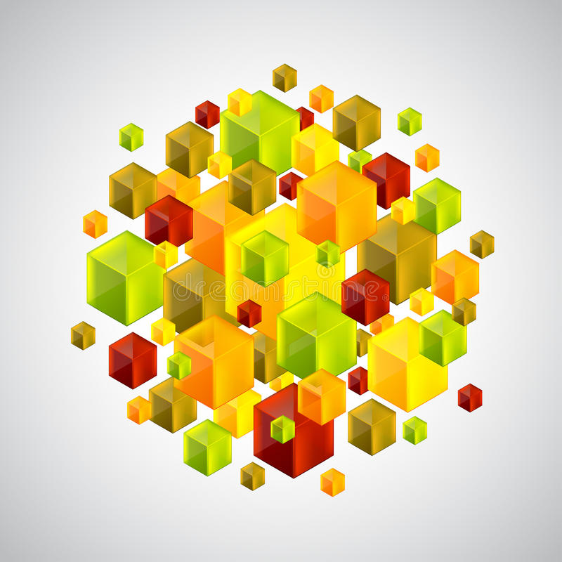 Абстрактная диаграмма от много красочных кубов 3d бесплатная иллюстрация