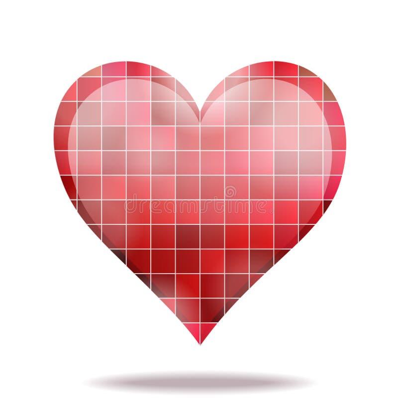 Абстрактная икона сердца мозаики 3D шарлаха иллюстрация вектора