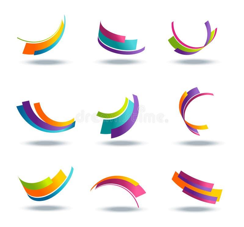 Абстрактная икона 3d установила с цветастыми элементами тесемки иллюстрация вектора